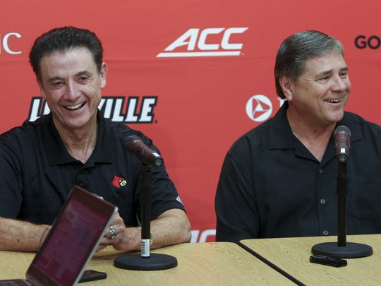 Rick Pitino (left) and Tom Jurich laugh at Louisville in 2015. The two men were treated unfairly in the aftermath of the FBI's college basketball investigation, columnist Ricky L. Jones argues.