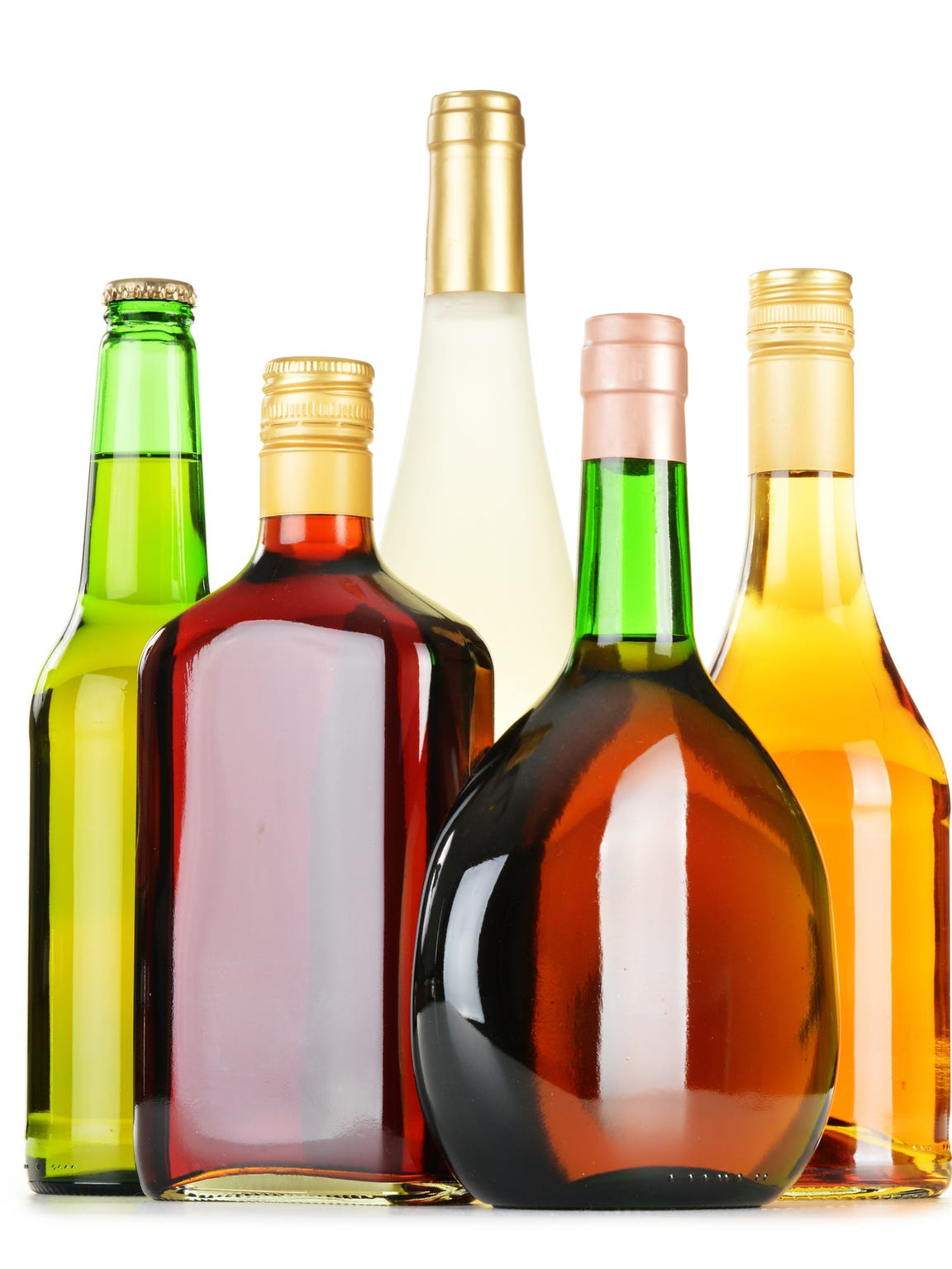 A stock image of multiple bottles of alcohol.