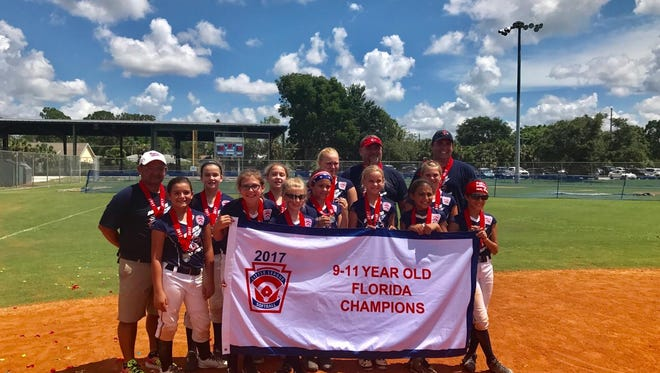 The Naples Rockets captured the Little League state softball championship in the 9-11 age division last weekend with a dominant performance. Naples won three games by a combined score of 46-3. Naples roster is made up of 11 players: Gabby Rascher, Reese Gill, Madison Means, Kelsey Scott, Regan Means, McKenzie Vargas, Tara Watkins, Roxy Hess, Gabby Alvarez, Abby Byrd and Sheila Forbes. The Rockets' manager is Yerye Vargas, with Mike Hess and John Forbes his assistants.