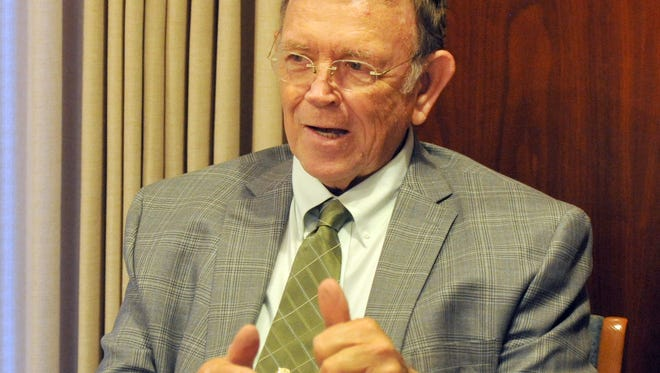 Charles Barr, a candidate for the Wichita Falls City Council Councilor At Large, meets with the editorial board of the Times Record News Wednesday.