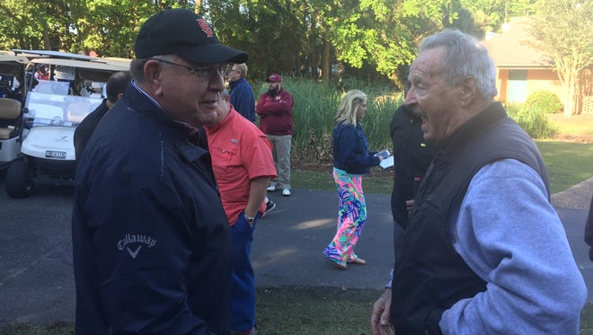 Former Florida State coaches Mickey Andrews (left) and Bobby Bowden were among the celebrities participating in Monday's Celebrity Golf Classic