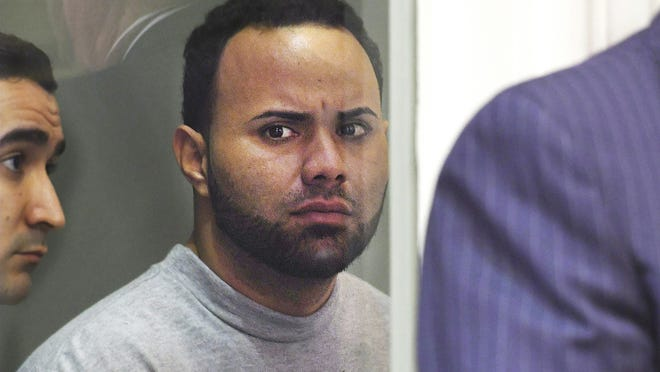 In this April 18, 2017, file photo, Angelo Colon-Ortiz is arraigned in Leominster District Court in connection to the Aug. 7, 2016, slaying of Vanessa Marcotte in Princeton.