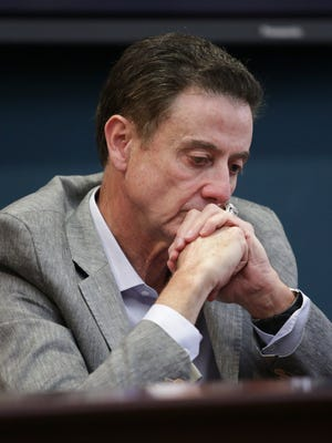 U of L basketball coach, Rick Pitino, looks on during a U of L press conference in response to the NCAA's penalties on the men's basketball program. June 15, 2017