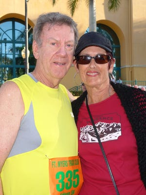 Merle Henry and wife Joan after he ran in his 38th race in 2014.