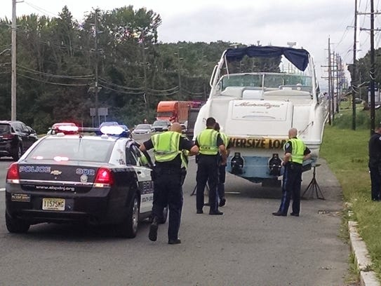 The back of the 37-foot boat found on Route 1 in South