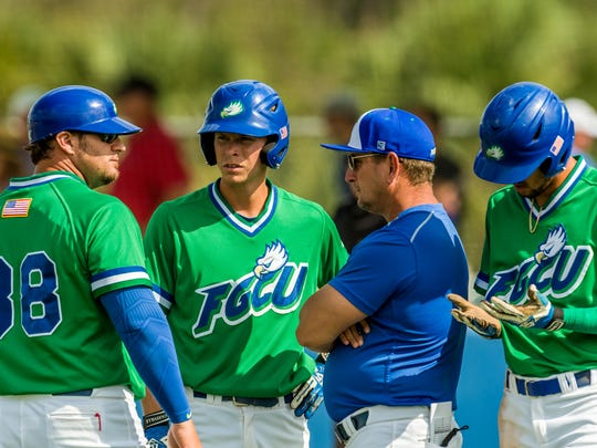 FGCU coach Dave Tollett missed lots of things this past season, but perhaps nothing more than 14-year Eagles coach Rusty McKee (38), the Eagles' former workhorse who retired from coaching after the 2017 season.