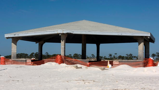 One of the beach pavilions at Johnson Beach remains closed Tuesday, Feb. 13, 2018. The extensive termite damage led to the closing of the structure.