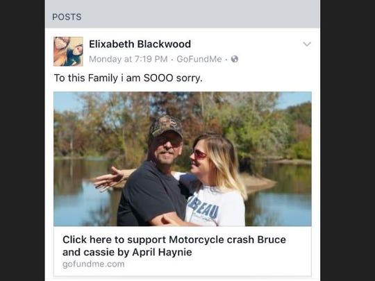 Elixabeth Blackwood's Facebook post