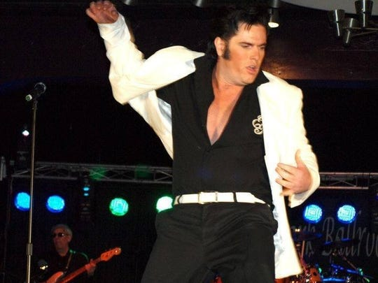 Lee Birchfield gets the hips swiveling during his Elvis Presely tribute show at a recent gig.