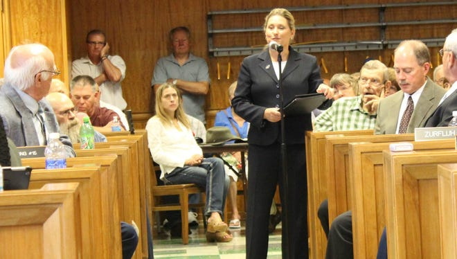 State Sen. Julie Lassa (D-Stevens Point) spoke at Tuesday's Wood County Board meeting.