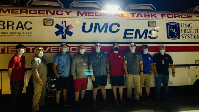 Crews from UMC EMS prepared to head to the Gulf Coast late Monday ahead of Hurricane Laura's expected approach later this week.