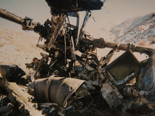 "A photo of the wreckage from the CH-53E Super Stallion helicopter crash that killed Staff Sgt. Walter ""Trae"" Cohee III."