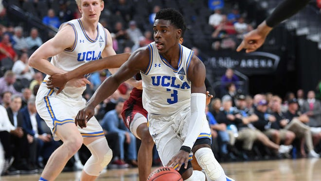 UCLA Bruins guard Aaron Holiday (3) drives the lane during a quarterfinal match against the Stanford Cardinal in the Pac-12 Tournament at T-Mobile Arena.