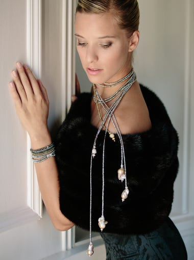 Elizabeth Rodbell, a dancer with the Rochester City Ballet, models jewelry from the Dripping in Gems line. Photos styled by Monica Flaum, with assistant stylists Allison Fogel and Adriana Marotta; makeup by Rachel Robach from Shear Ego Salon and Spa.