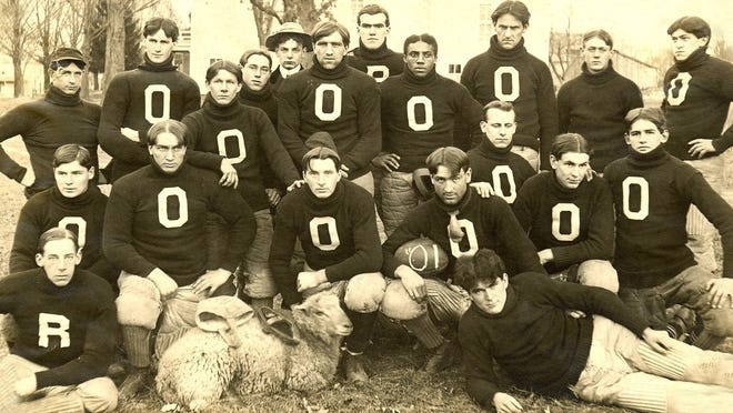The 1901 Olivet College football team. The school was founded in 1844 and by 1847 had 72 students.