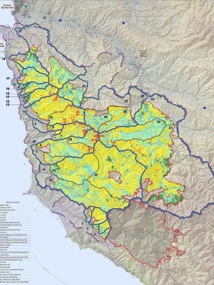 The Soberanes Phase 1 Burn-Area Reports includes maps indicating soil burn severity areas.
