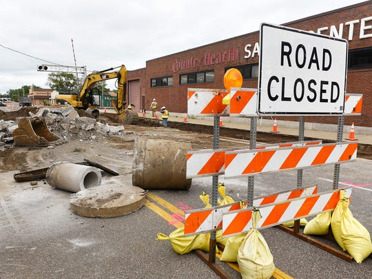 Work is underway to widen East St. Germain Street at the rail crossing and install a raised median Tuesday, May 30, between Lincoln Avenue and Wilson Avenue.