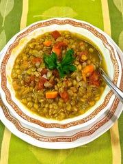 Lentil soup is chock full of veggies.