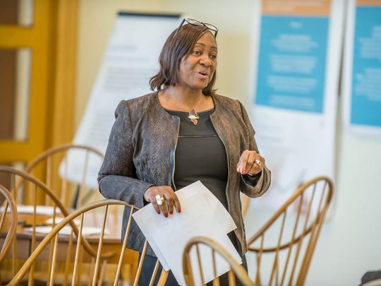 W. K. Kellogg Foundation CEO La June Montgomery Tabron speaks during Thursday's BC Vision Steering Committee meeting at Kellogg Co. headquarters.