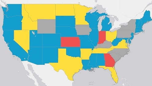 A map compiled by the Tennessee Office of Research and Education Accountability detailing online testing nationwide.