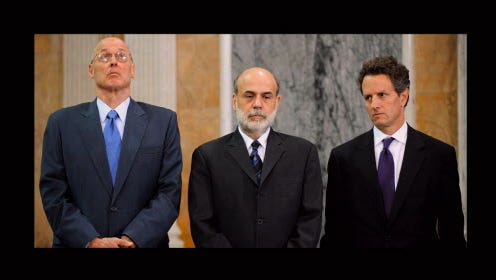 "From left, Henry Paulson,  Ben Bernanke and Timothy Geithner in the documentary ""Inside Job."""