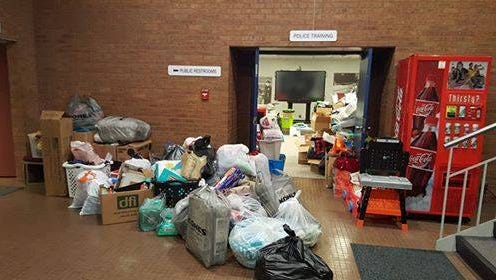 A stack of donations at the Middletown Police Department