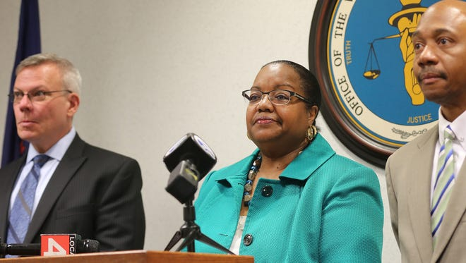 Wayne County Prosecutor Kym Worthy announces charges during a news conference in Detroit on Wednesday, May 25, 2016,  in child shootings.