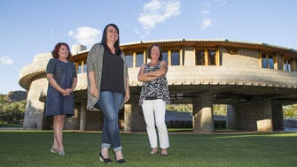 """The descendants of David and Gladys Wright consider Zach Rawling an """"angel."""" Sarah Levi, center, is the scholar in residence at the Frank Lloyd Wright-designed home. Her mother, Anne Wright-Levi, right, and aunt Kimberly Lloyd Wright, are David and Gladys Wright's granddaughters."""