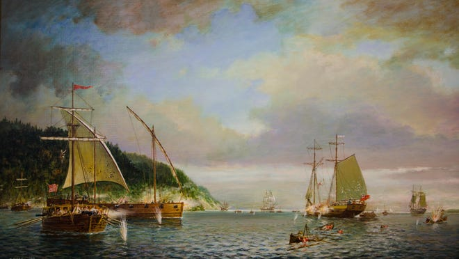 At the Battle of Valcour Island in 1776, a hastily-built American fleet manned by inexperienced colonists stopped the British from advancing down Lake Champlain. This Ernest Haas painting of the battle is on display at the Lake Champlain Maritime Museum.
