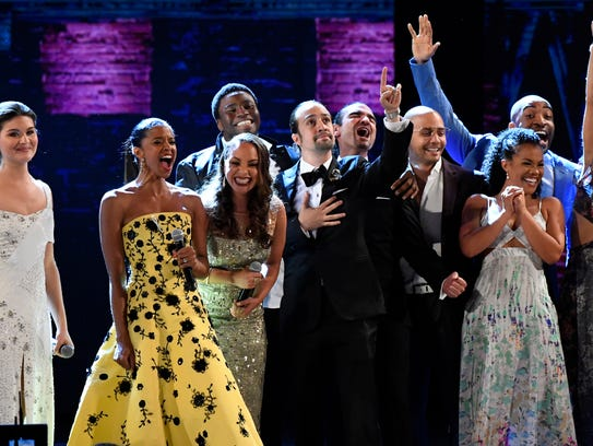 The cast of 'Hamilton' closed out the 70th Tony Awards after winning Best Musical at the Beacon Theatre.