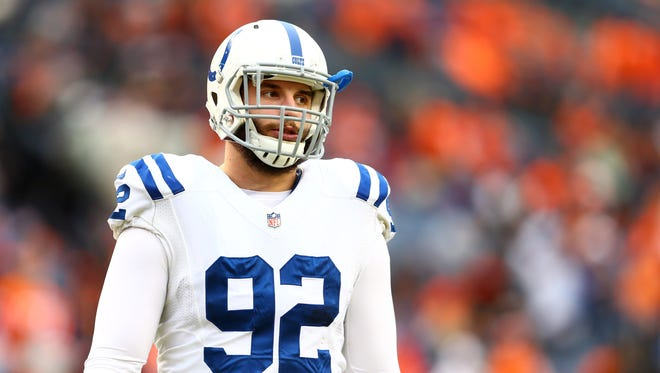 Colts linebacker Bjoern Werner (92) is inactive for Sunday's AFC Championship game in New England.