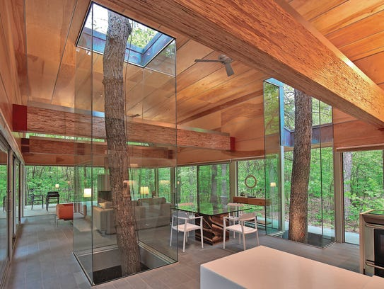 Glass-encased trees inside a West Virginia home reflect
