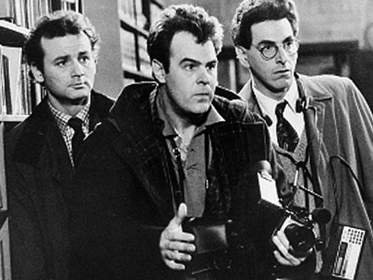 "Bill Murray, Dan Aykroyd (center) and Harold Ramis in a scene from the 1984 movie ""Ghostbusters."""