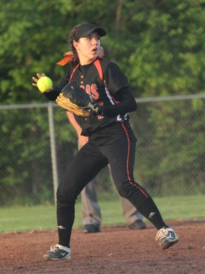 Lucas' Brooke Niswander throws to first base during division IV district game against Seneca East at Shelby High School on Tuesday.