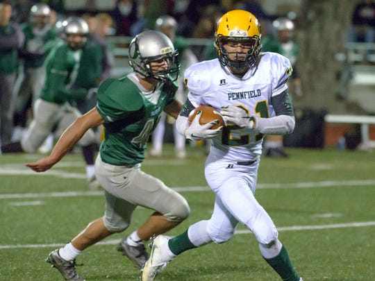 Pennfield's Grant Petersen (21) is a key returner for the 2017 Panther football team.