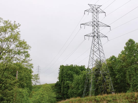 A 230 kV tower, about 135 feet tall, is pictured. Transource Energy is looking at  rights of way for 230 kV lines -- one in Franklin County and another in southern York County.