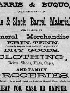 This newspaper advertisement from 1887 provides some insight into life in Erin during that era.