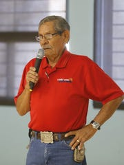 Larry Martinez, a representative of the Cold War Patriots, talks about the nonprofit organization's work to advocate for benefits and compensation for former nuclear weapons and uranium mine workers on Thursday in Shiprock.