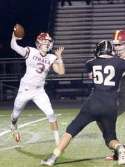 Ithaca quarterback Mason Boothe sets to throw against