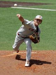 Texas pitcher Chase Shugart (24) kept the Longhorns'