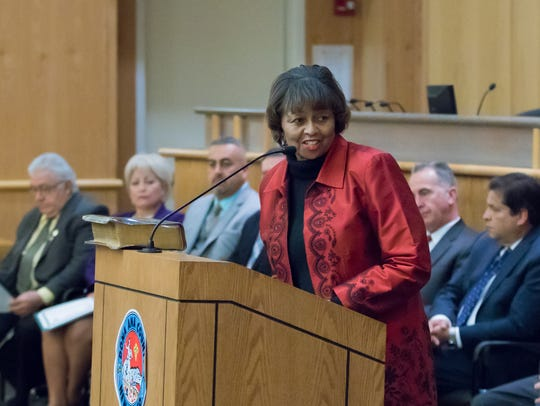 Doña Ana County Manager Julia T. Brown delivers opening
