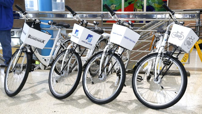 City bikes sponsored by Asbury Park Boardwalk, Home Drug Store, Asbury Park Now and The Asbury.   Asbury Park launched its new bike share program, providing bikes at low cost that people can rent throughout the city, encouraging more people to take alternative methods of transportation. Asbury Park, NJ.  Tuesday, August 29, 2017.  Noah K. Murray-Correspondent Asbury Park Press