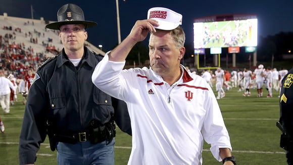 Oct 17, 2015; Bloomington, IN, USA; Indiana Hoosiers head coach Kevin Wilson walks off the field after the Indiana Hoosiers lost to the Rutgers Scarlet Knights 55-52. at Memorial Stadium. Mandatory Credit: Matt Kryger-USA TODAY Sports