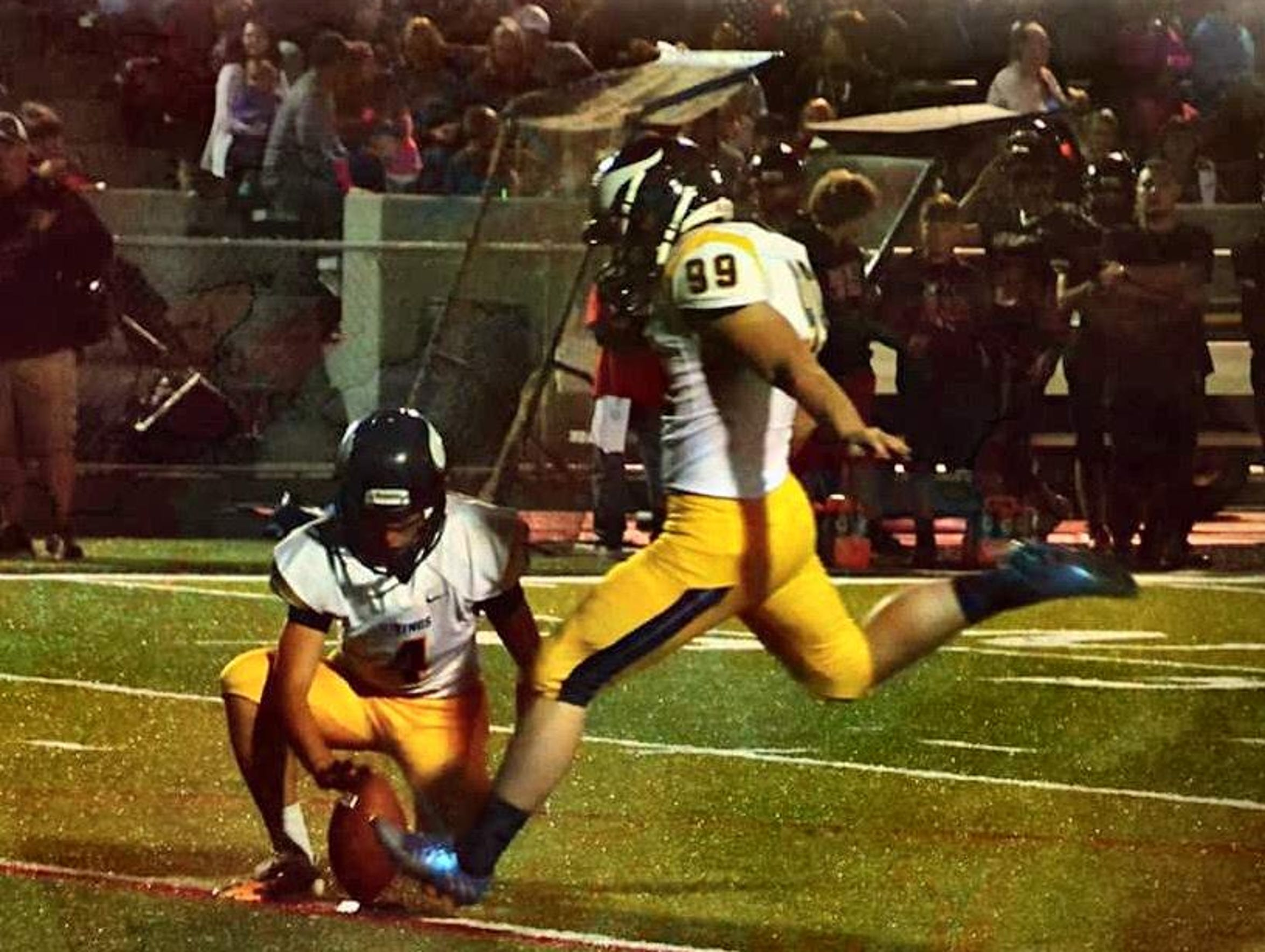 River Valley's Carter Layton attempts a kick during