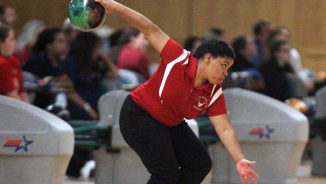 North Rockland's Akira Deloatch competes in the Section 1 girls bowling tournament at Fishkill Bowl Feb. 6, 2017.