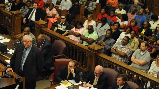 Attorney Jim Dukes questions a witness during court proceedings in the 2013 Ware v. DuPree trial.