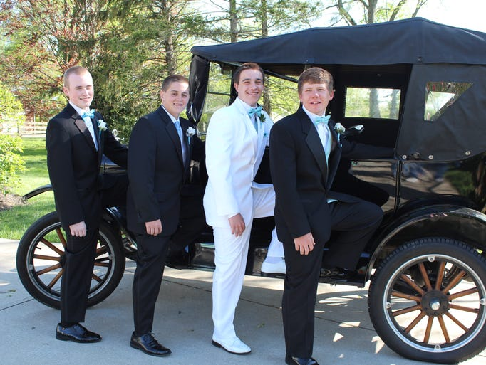Sean King, Trey Bono, Shawn Brown and Royce McGee get ready for the Dixie Heights High School prom.