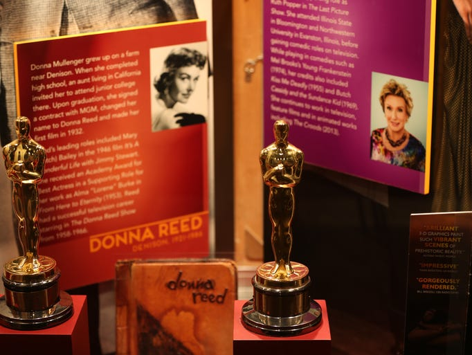 Two academy awards won by Iowans Donna Reed and Cloris Leachman seen at the Hollywood in the Heartland exhibit at the State Historical Museum on Thursday, June 26, 2014, in Des Moines, Iowa.