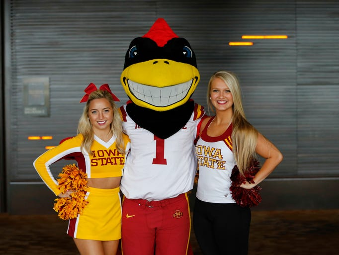 Jul 21, 2014; Dallas, TX, USA; Iowa State Cyclones cheerleaders and mascot Cy pose for a photo during the Big 12 Media Day at the Omni Dallas.