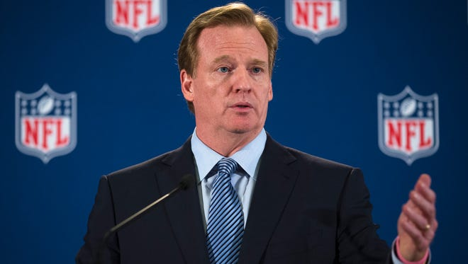 NFL commissioner Roger Goodell speaks during a news conference following a meeting of NFL owners and executives in New York, Wednesday, Oct. 8, 2014. The meetings were held to help the NFL develop and carry out a domestic violence educational program.